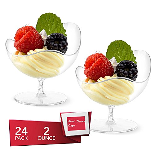 Mini Dessert Cups, 24 Pcs/set Disposable Footed Glass Dessert Dishes Bowls, Clear Plastic, Appetizer Bowls