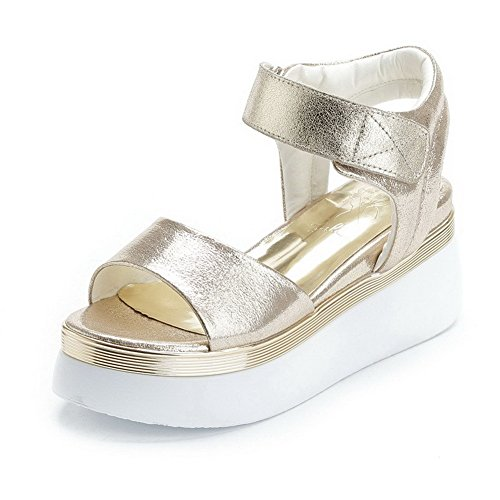 AmoonyFashion Womens Hook-and-loop Open Toe Kitten-Heels PU Solid Sandals Gold gHxpgJ