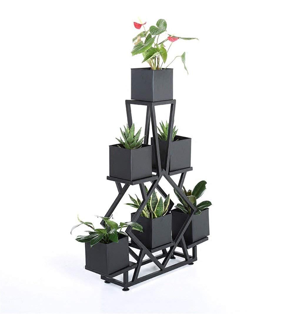 ブラックメタル植物フラワースタンド、リビングルームの寝室のバルコニー装飾フロアスタンド、現代のフラワーポットスタンドディスプレイポットラック6アイアンボックス B07RVC6QDR