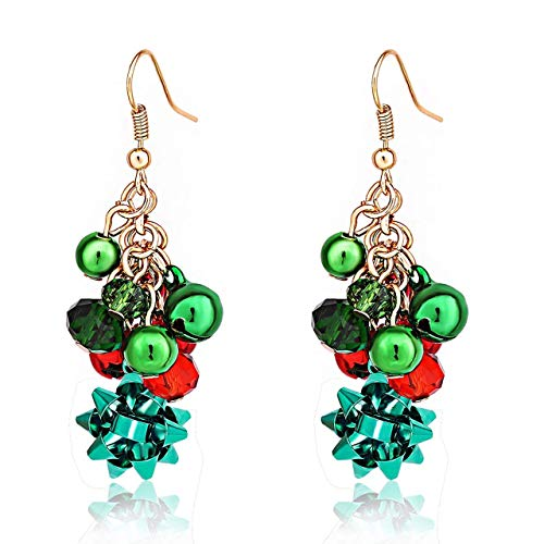 - LPON Christmas Drop Dangle Earrings Christmas Jingle Bell Snowman Abduct Deer Gift Box Santa Claus Christmas Tree Gift Bow Earrings for Women Girls (Style:I)