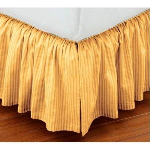 (shopping-cart Luxury Dust Ruffle Bed Skirt Twin XL Size 36'' Drop Fall Length Gold Striped 950TC 100% Egyptian Cotton )