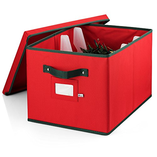 Zober Premium 600D Oxford Christmas Light storage Box with Lid, and 4 Plastic Light Wraps, for Lights, Garlands, Extension Cords, Etc. Reinforced Stitched Light Organizer Box Handles 17x12x10 Inch Red