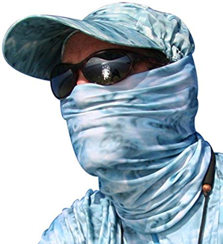 Aqua Design Fishing Hunting Masks Neck Gaiters for Men and Youth: UPF 50+ Sun Mask Protection: Camo Half Face Cover Balaclava Bandana: Aqua Sky: Size ()