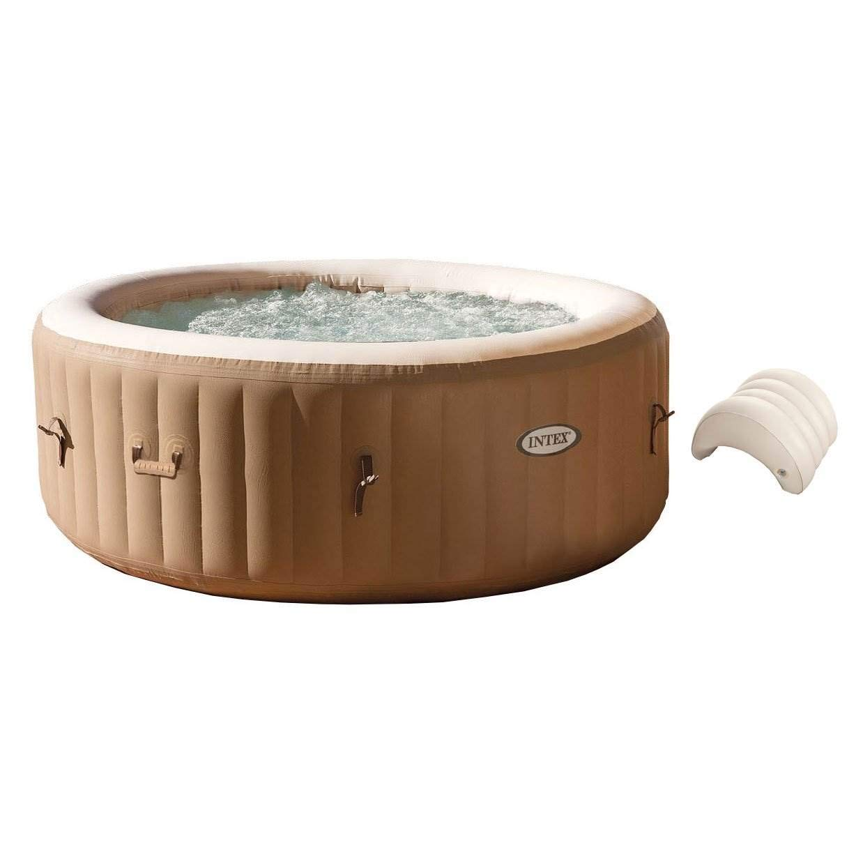 Intex PureSpa 4-Person Inflatable Jet Spa Hot Tub w Inflatable Headrest Pillow