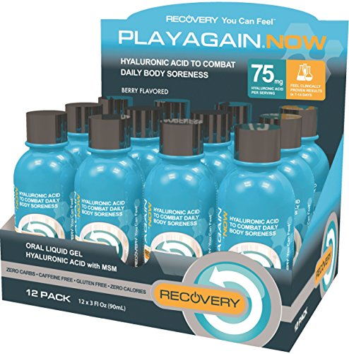 Play Again Now Hyaluronic Acid & MSM Daily Recovery Drink Supplement, 3 Ounce, 12 Count by Play Again Now