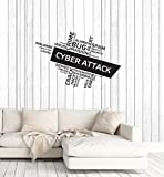 Vinyl Wall Decal Cyber Security Attack Hacker Words Cloud Interior Stickers Mural Large Decor (ig5773) Black