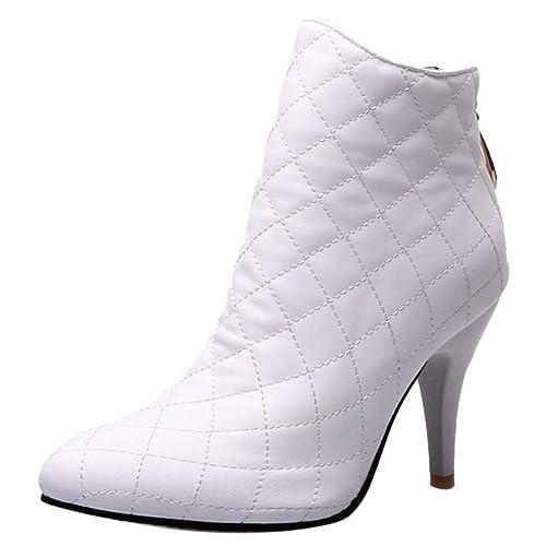 Coolcept Botas Mujer Invierno Tacón Alto Fiesta Botas Cremallerta Puntiagudo Vestido Botines White Size 32 Asian