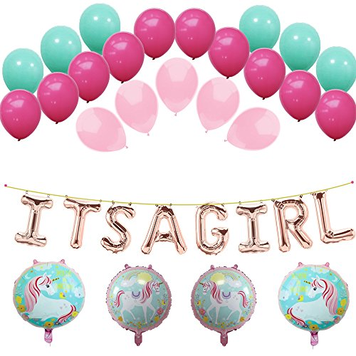 Unicorn IT'S A GIRL Banner Foil Balloons,Soft Pink,Turquoise,Rose Red Latex Balloon Set For Girl Birthday Party Baby Shower Photograph Ornament