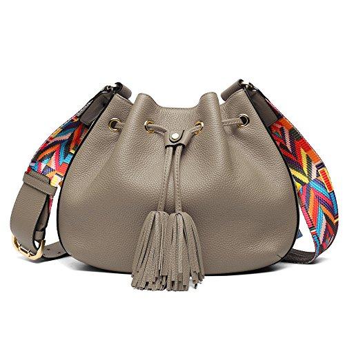Women Bucket Bags, Cowhide Genuine Leather Retro Shoulder Bags Purse Crossbody Ladies Tote Bags with Tassels