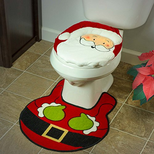 Christmas Holiday Bathroom Santa Claus Toilet Seat Cover and Rug 2 Piece Set Decorations