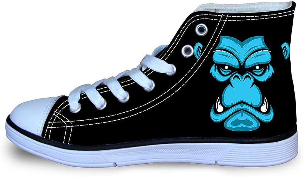 Canvas High Top Sneaker Casual Skate Shoe Boys Girls Vicious Gorilla Face
