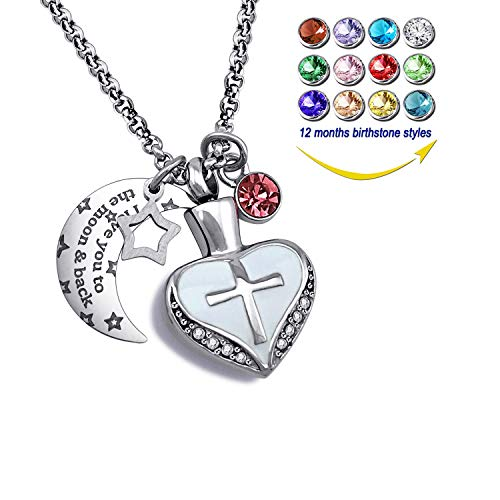 YOUFENG Urn Necklaces for Ashes I Love You to The Moon and Back Cross Necklace Birthstone CZ Keepsake Pendant (June Birthstone urn)