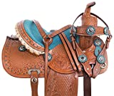 AceRugs 10 Turquoise Western Mini MINATURE Horse Leather Saddle Youth Kids Show Pleasure Trail Barrel Racer Lead LINE