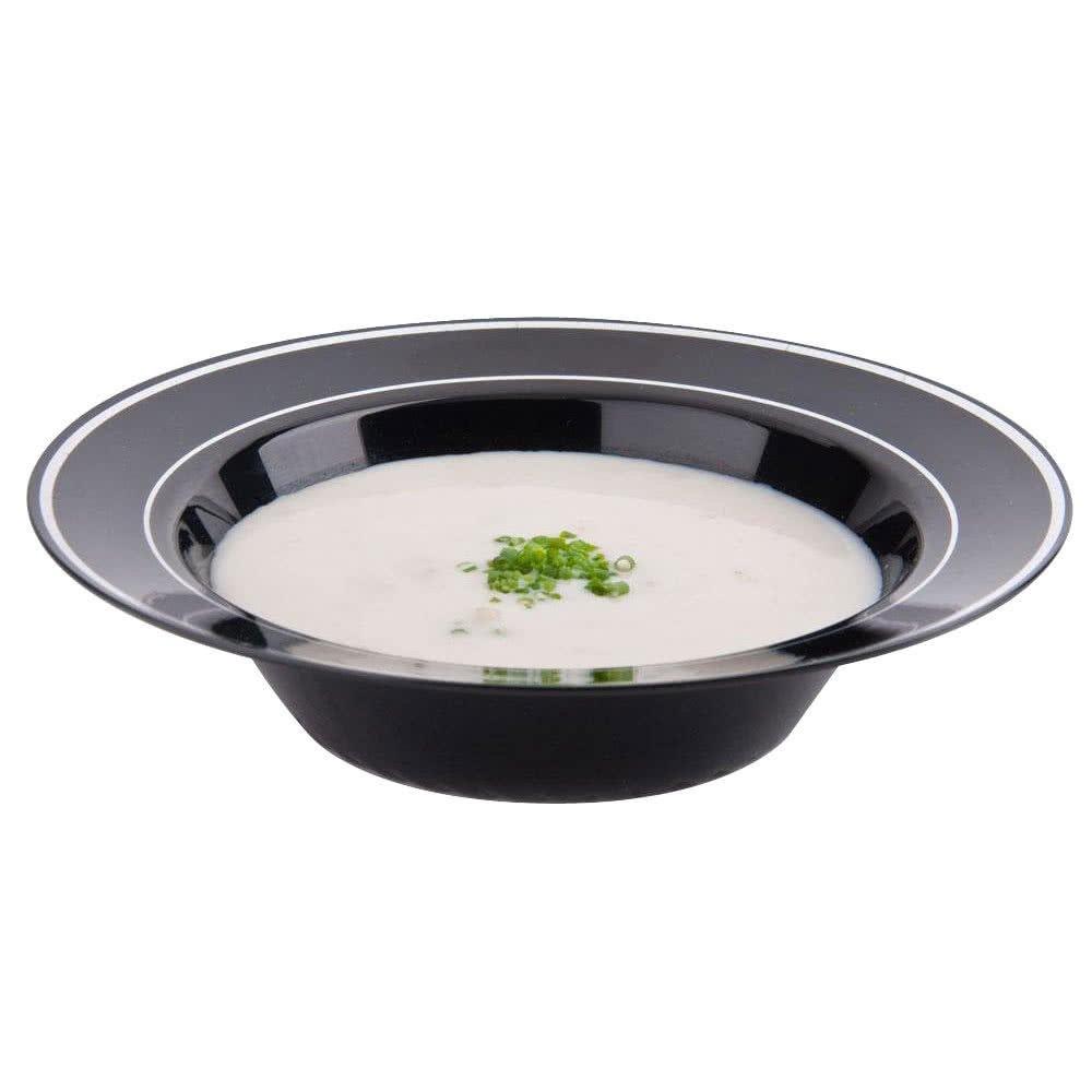 ml Elegante spesso e coperchio di plastica per le feste//zuppa /Confezione da 15 colore nero argento con design/ / /340,2/gram
