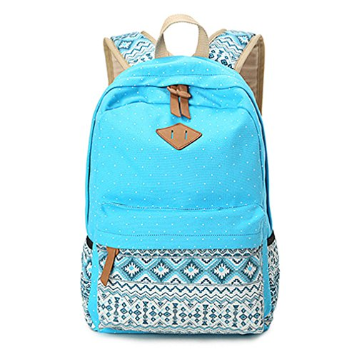 Leinwand drucken Frauen Schule Rucksäcke Rucksack Tasche für Mädchen im Teenageralter Vintage Laptop Rucksack weiblichen Schultasche Sky Blue