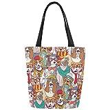 InterestPrint Cute Hipster Dog Animal Canvas Tote Bag Shoulder Handbag for Women Girls