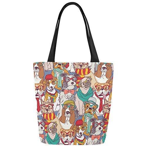 InterestPrint Cute Hipster Dog Animal Canvas Tote Bag Shoulder Handbag for Women Girls by InterestPrint