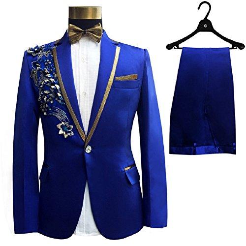 Xs Costume Slim Suit Pantalon Gwell Veste Cérémonie Smoking Homme Broderie Un Strass Pièces Déguisement 2 3xl 3 Fit Paillettes Fête Bleu Bouton UqvB5wq