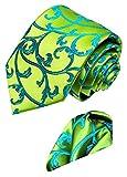 LORENZO CANA - Luxury Italian 100% Silk Necktie Hanky Set Green Turquoise Paisley Necktie - 8452101