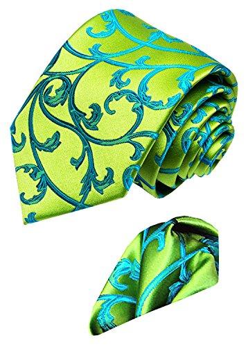 LORENZO CANA - Luxury Italian 100% Silk Necktie Hanky Set Green Turquoise Paisley Necktie - 8452101 by LORENZO CANA