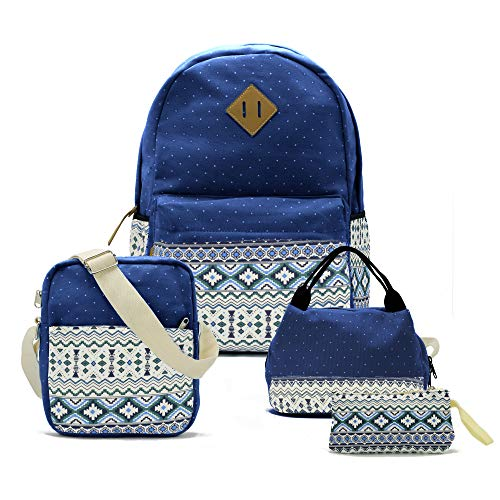 Teenager Teen Girl Canvas School Backpack Lunch Pencil Shoulder Bookbag Set of 4