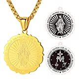FaithHeart Virgin Mary Doubleside Pendant Necklace Gold Plated Jewelry for Christian