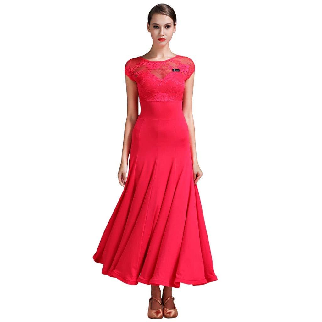 Rouge LRR Manches Courtes Robe De Danse Moderne Pratique des Vêtements, Costume National Costume De Danse Arbitre Jupe Uniforme (Couleur   jaune, Taille   XL) Medium