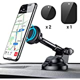 Magnetic Phone Car Mount, 6 Strong Magnets Phone Holder for Car Dashboard and Windshield, 360° Rotation & Metal Telescopic Arm, Hands-Free Car Phone Holder Compatible with 3''-7'' Phone, iPad(Ainope)