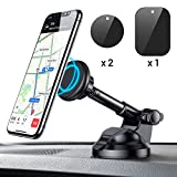 Car Phone Mount - Magnetic Phone Car Mount with 6 Strong Magnets - Cell Phone Holder for Car Dashboard Windshield Adjustable Car Cradle Mount Compatible with Cellphone 3''-7'' - iPhone - iPad - by Ainope