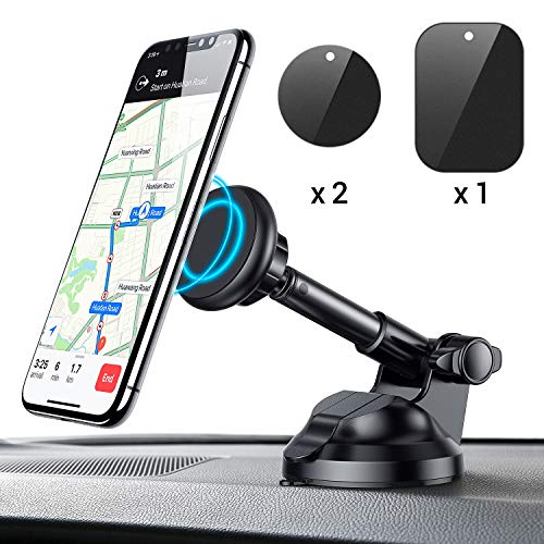 Car Phone Mount, Magnetic Phone Car Mount with 6 Strong Magnets, Cell Phone Holder for Car Dashboard Windshield Adjustable Car Cradle Mount Compatible with Cellphone 3-7, iPhone, iPad, by Ainope