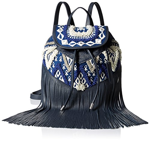 Rebecca Minkoff Mumbai Fringe Back pack, Navy Blue/White/Multi, One Size by Rebecca Minkoff