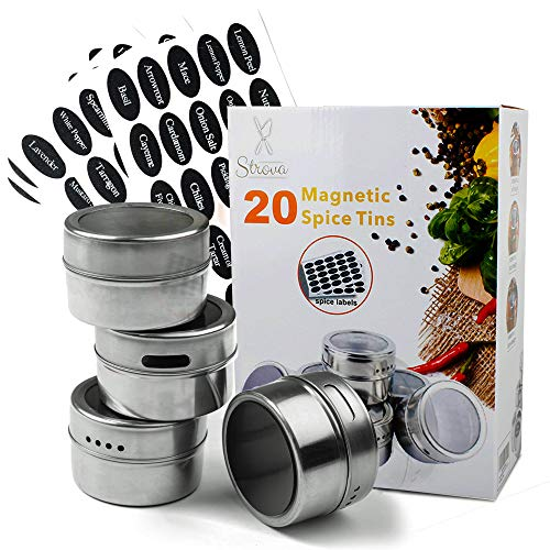 (Strova Magnetic Spice Tins (20-Piece Set) Dual-Purpose Sift and Pour Holes   Round, Stainless Steel Cans w/Transparent Shaker Tops   Incl. 150 Pre-Printed Sticker Labels)