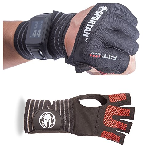 Fit Four Spartan Race OCR Slit Grip Gloves Obstacle Course Racing & Mud Run Hand Protection | Wrist Support with Slit for Fitness Watch (Black/Red, Medium)