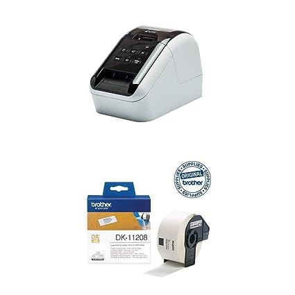 Brother QL810W - Impresora de Etiquetas + Brother DK11208 - Etiquetas precortadas de dirección grandes