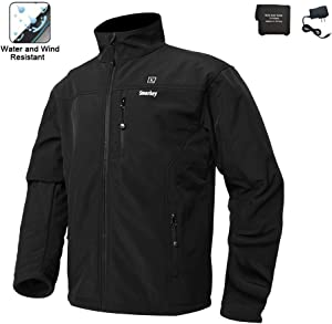 Smarkey Cordless Heated Jacket Carbon Fiber Electric Heating Clothing Male Jacket Thermal Clothing with 1PCS 5200mah Battery