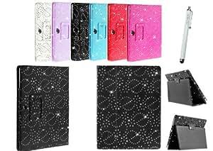 Kit Me Out ES ® Funda libreta + Blanco Lápiz óptico capacitivo / resistivo para Samsung Galaxy Note 10.1 Tablet N8000 / N8010 - Negro Diseño brillantes efecto diamante