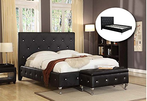 Kings Brand Furniture Black Tufted Design Faux Leather Queen Size Upholstered Platform Bed