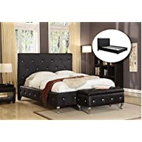 Kings Brand Furniture Black Tufted Design Faux Leather Full Size Upholstered Platform bed