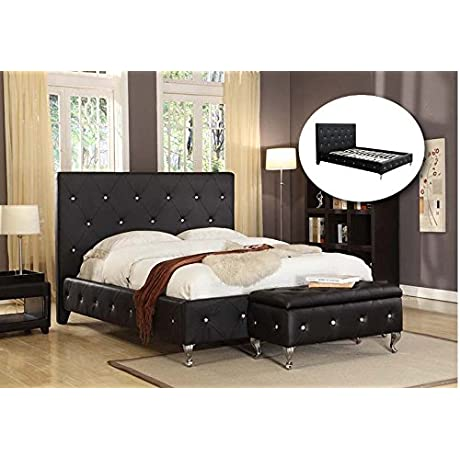 Kings Brand Furniture Black Tufted Design Faux Leather Full Size Upholstered Platform Bed