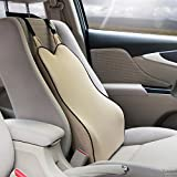 Back Support Lumbar Cushion for Car Seat-Soft Memory Foam Even in Subzero Temperatures - Orthopedic Design for Back Pain Relief Effectively (Beige)