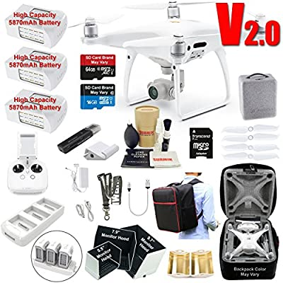 DJI Phantom 4 PRO V2.0 (V2) Drone Quadcopter Bundle Kit with 3 Batteries, 4K Professional Camera Gimbal & MUST HAVE Accessories from DJI