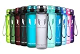 Super Sparrow Sports Water Bottle -32oz - Eco Friendly & BPA-Free Plastic - Fast Water Flow, Flip Top, Opens With 1-Click - Reusable with Leak-proof Lid - For Running, Gym, Yoga, Outdoors and Camping