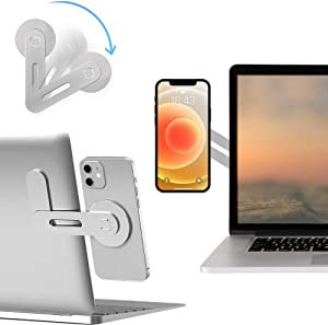 Laptop Phone Holder, Adjustable Laptop Stand, Laptop Side Mount Clip for iPhone 12 Series, Slim Portable Foldable Smartphone Stand desktops,Silver