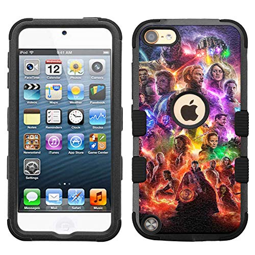 for iPod Touch 5/6, Hard+Rubber Dual Layer Hybrid Heavy-Duty Rugged Armor Cover Case - Avengers Endgame #M