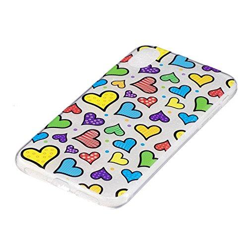 Coque iPhone X,couleur aime Premium Gel TPU Souple Silicone Transparent Clair Bumper Protection Housse Arrière Étui Pour Apple iPhone X / iPhone 10 (2017) 5.8 Pouce + Deux cadeau