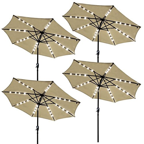 9ft Outdoor Patio Solar Power LED Aluminium Umbrella Sunshade UV Blocking Hand-Crank Tilt - Set of 4 Beige - Gainesville In Mall