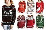 Hanson Women's Patterns Of Reindeer Snowman Christmas Cardigan