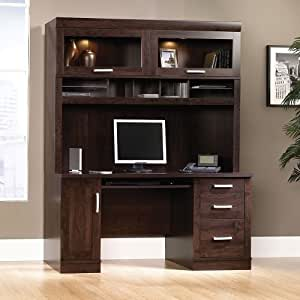 Computer Credenza with Glass Closed Storage Hutch