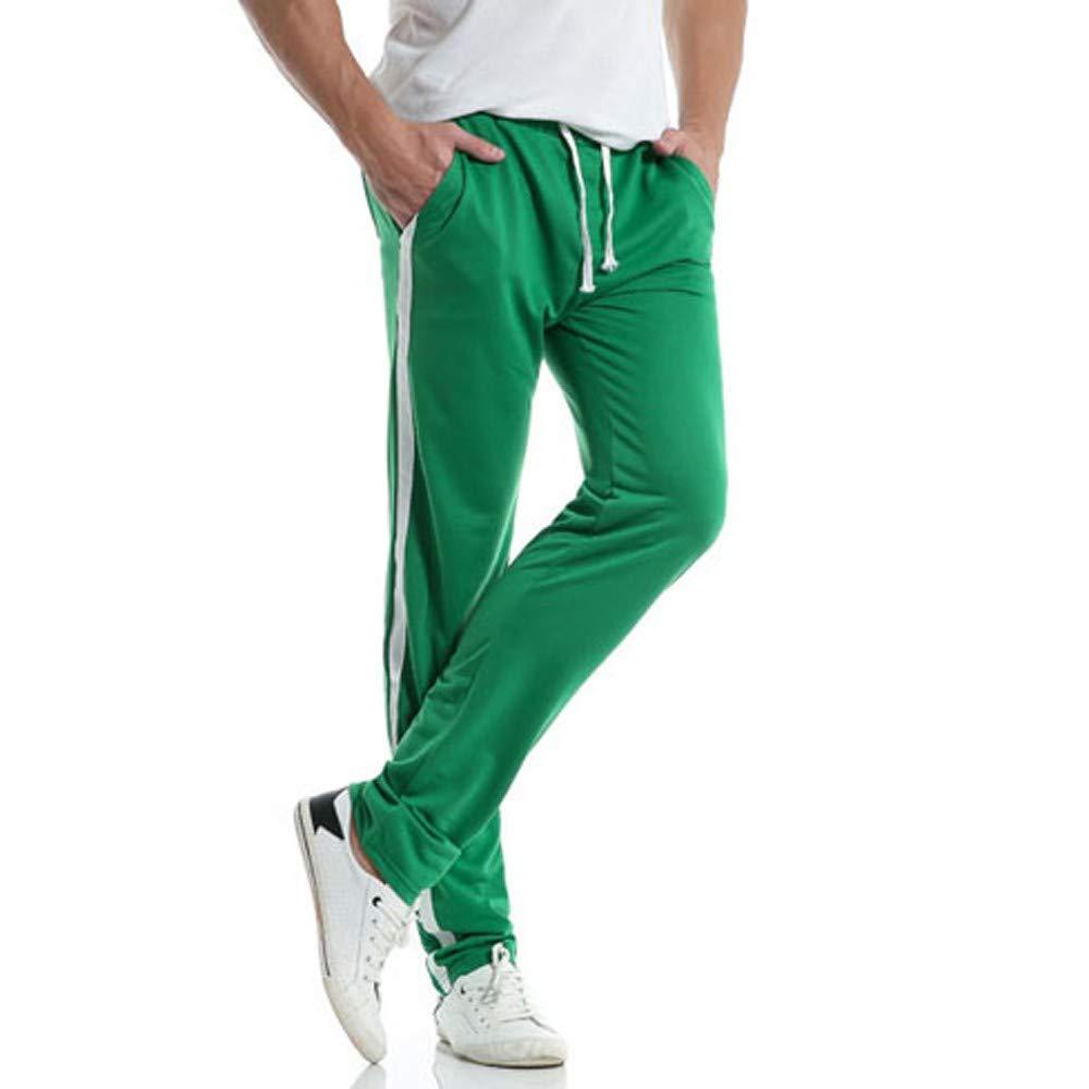 WOCACHI Mens Sports Pants Stripe Sweatpants Elastic Casual Track Loose Trousers