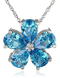 """Sterling Silver Cubic Zirconia Flower Pendant Necklace, 18"""""""